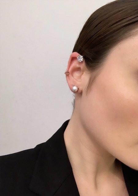 Joomi Lim Set of 3 Spike, Crystal & Pearl Earrings & Ear Cuff - Rhodium/Crystal/White