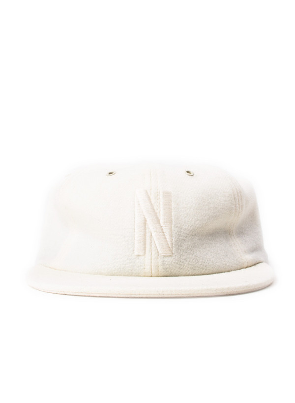 Norse Projects 6 Panel N Wool Flannel Flat Cap Kit White