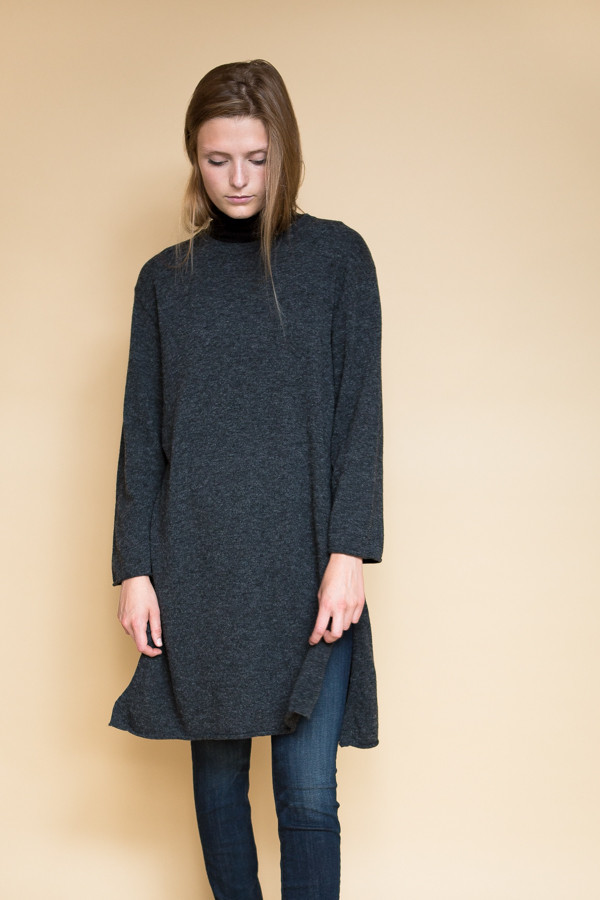 Achro Side Slit Long Sweater - Charcoal