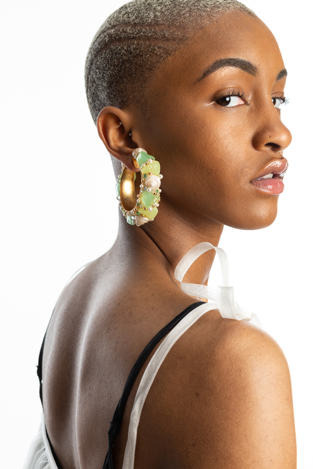 VINTAGE Resin and Shell Hoop Earrings