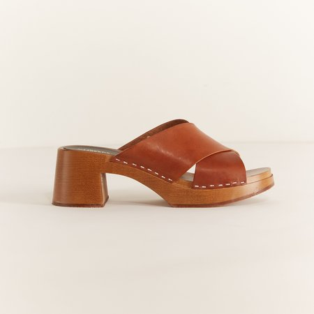 Swedish Hasbeens Anette High Slip On Shoe - Cognac