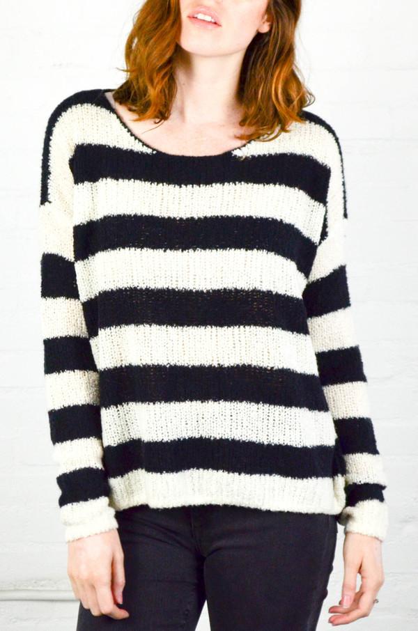 ATM Anthony Thomas Melillo ATM Chalk and Black Stripe Boatneck Drop Shoulder Sweater