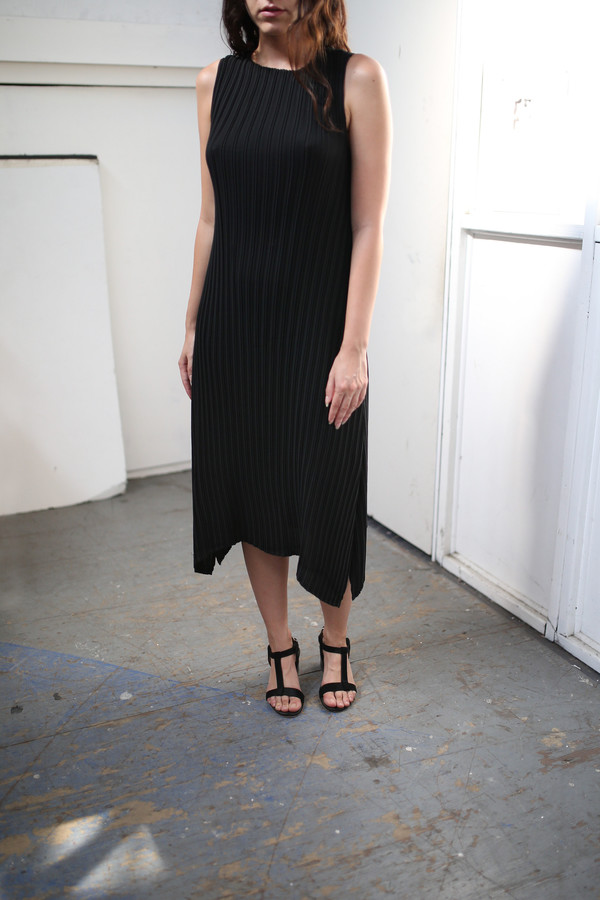 Objects Without Meaning Knife Pleat Dress, Black