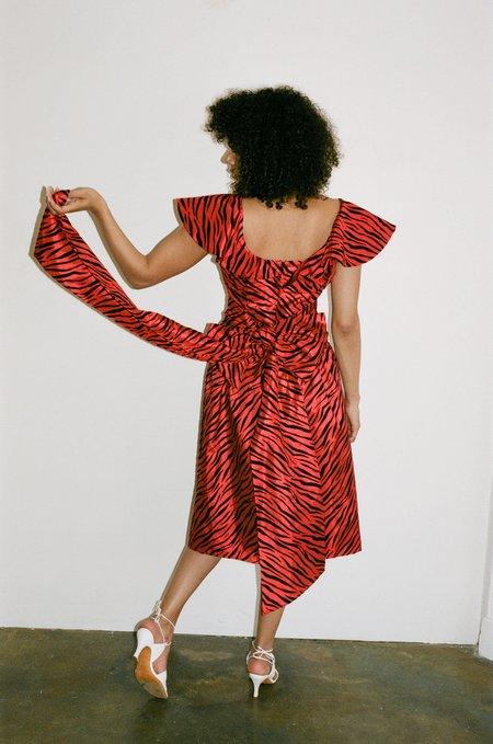 BATSHEVA Bow Dress - Red Zebra