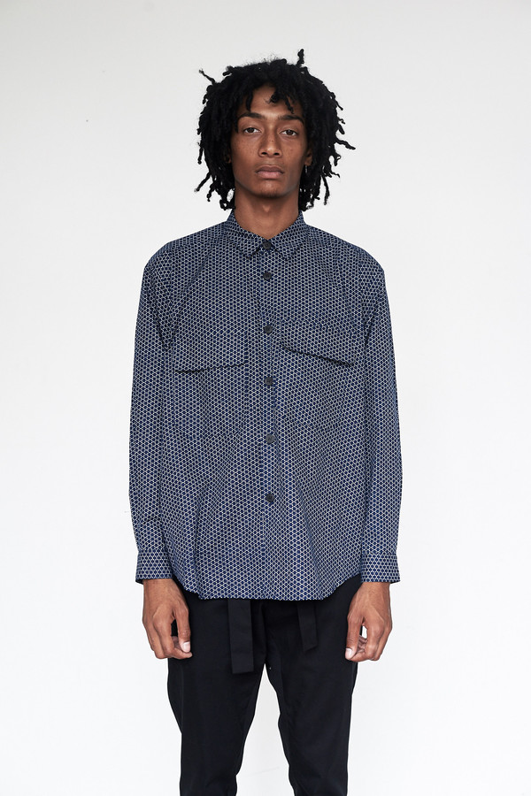 Men's Assembly New York Cotton Indigo Print Poet Shirt