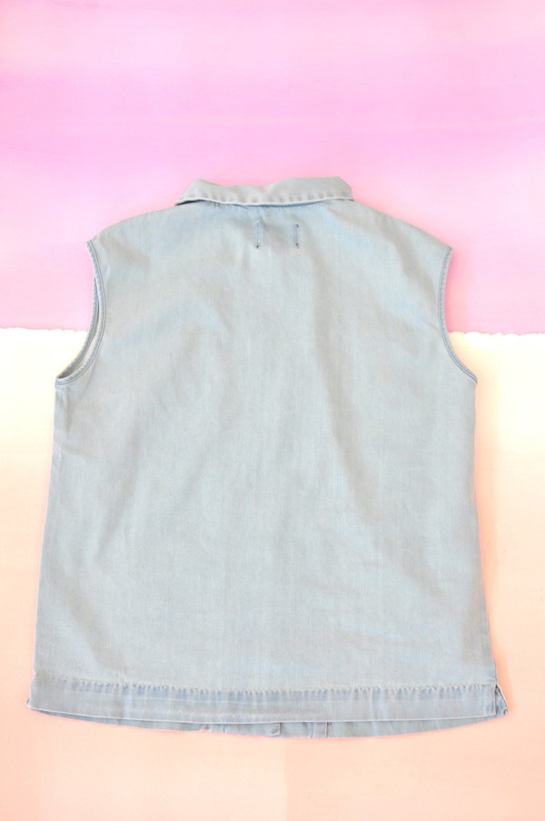 "Courtshop ""Robin"" Sleeveless Pintucked Chambray Blouse"