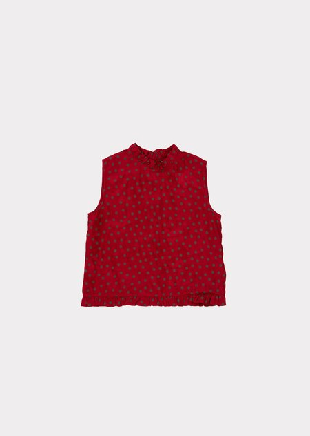 KIDS Caramel Clarence Top - Crimson Dot
