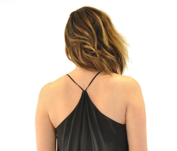 The Korner Silk Slip Dress with Gathered Skirt