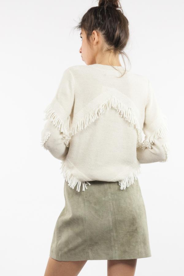 Tanya Taylor Inlay Fringe Cha Cha Sweater - Cream