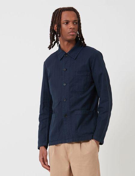 Vetra French Workwear Herringbone Jacket - Navy Blue