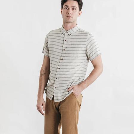 Bridge & Burn Jordan Doublecloth Short Sleeve Shirt - Striped