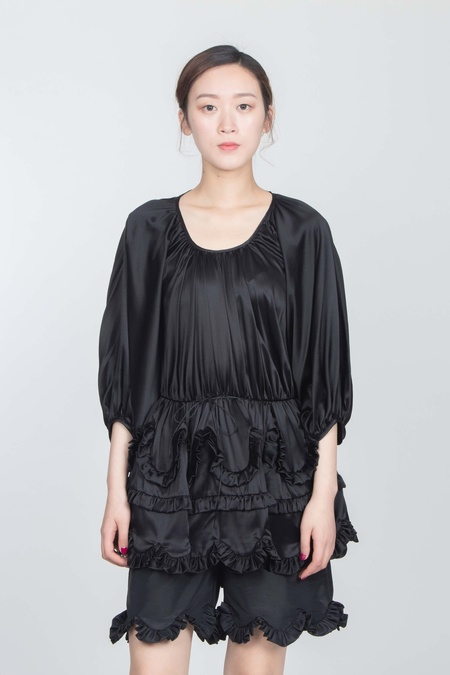 Cecilie Bahnsen PUFF SLEEVED BLOUSE AND PIPPA SHORTS SET - BLACK