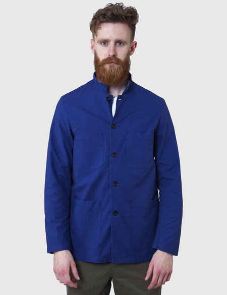 Vetra French Small Collar Overdyed Workwear Jacket - Hydrone Blue