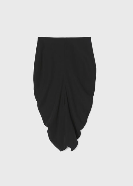 Totême SHAPED SKIRT WITH GATHERING AT FRONT - BLACK