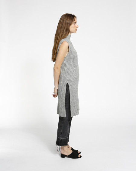 Achro Sleeveless Ribbed Tunic in Grey