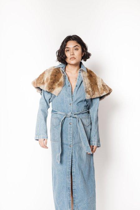 La Bete long denim coat with rabbit layered cape