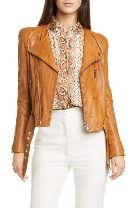 Smythe pagoda leather jacket - Fawn