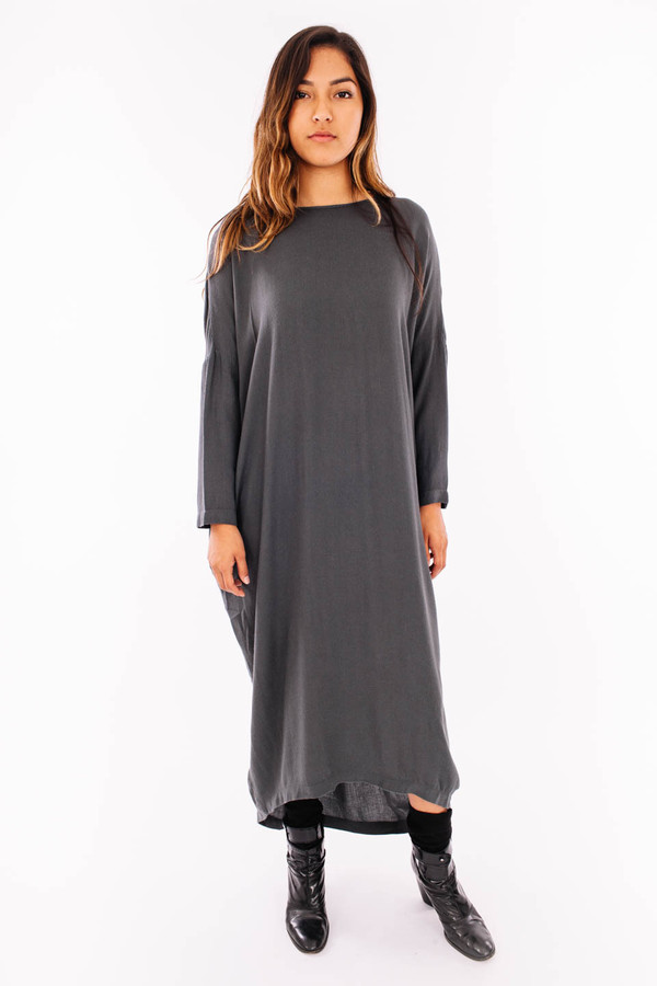 Black Crane Pleated Cocoon Dress (Dark Shadow)