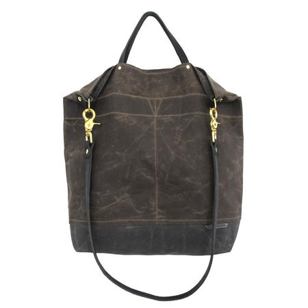 Ali Golden REVERSIBLE BAG with BLACK STRAP - BROWN