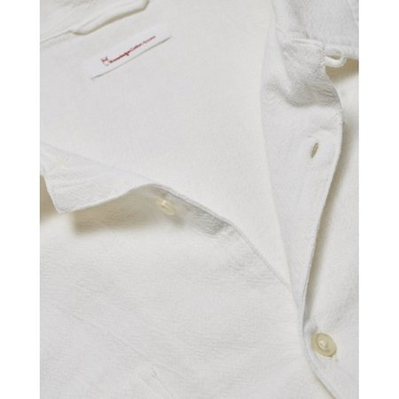 knowledge cotton apparel wave plain long sleeve shirt - white
