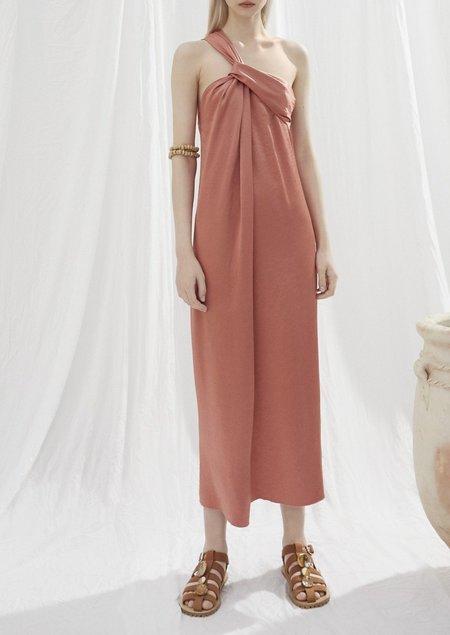 Nanushka Zena twisted front dress - langoustino