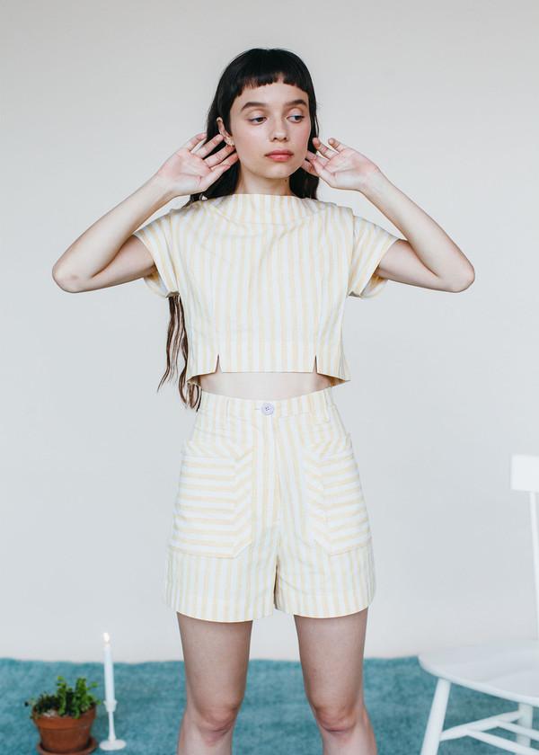 Samantha Pleet Perspective Shorts - Yellow Stripe