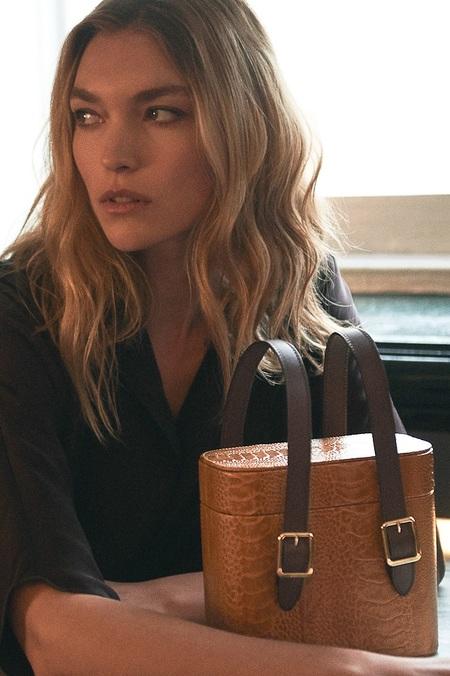 Officina del Poggio by Arizona Muse Picnic Safari Sustainable Ostrich Leather Bag - Caramel/Mogano