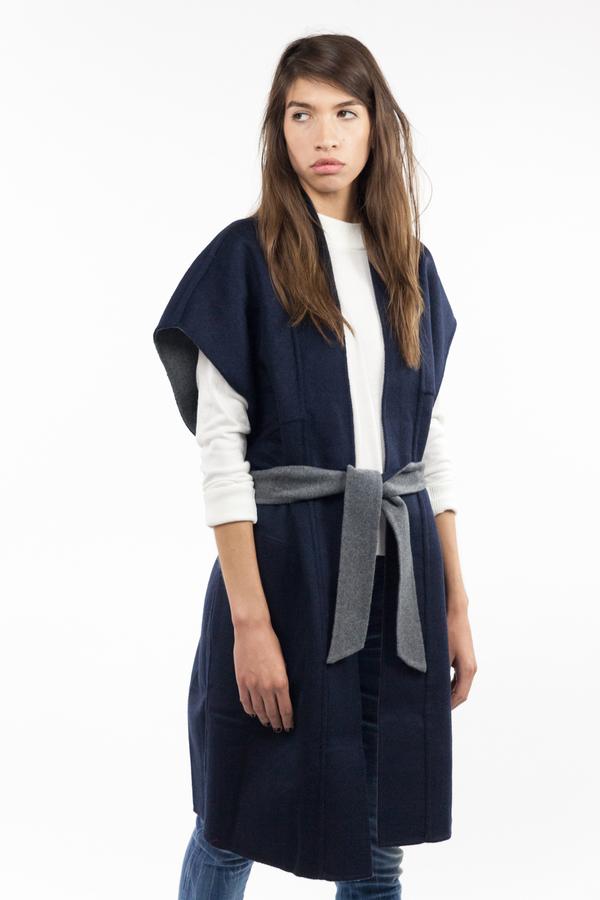 7115 by Szeki Reversible Kimono Vest - Gray/Navy