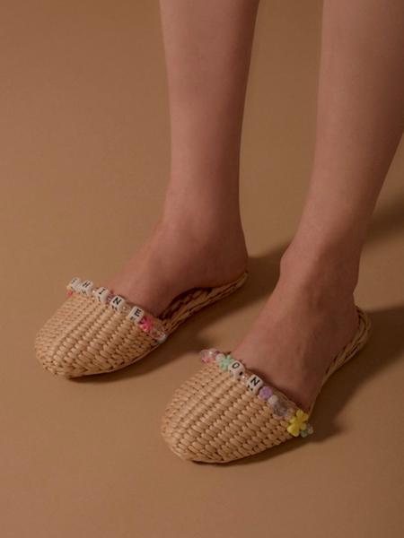 Folk Fortune Shine On Straw Slippers