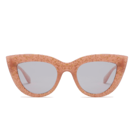Persons Cat Eye Sunglasses with Gold Specks - Pink