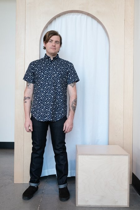 Naked & Famous Floral Short Sleeve Easy Shirt - Indigo Roma Floral