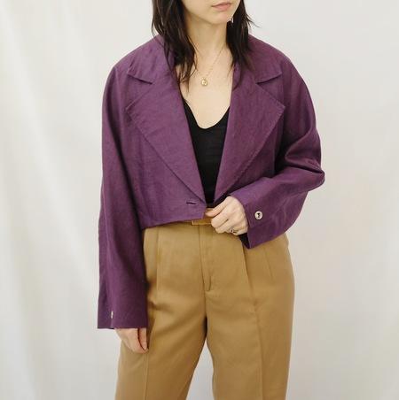 Hey Jude Vintage Linen Jacket - Eggplant