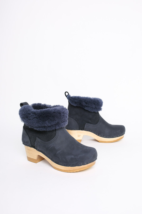 """No.6 Store Clogs 5"""" shearling boot in navy"""