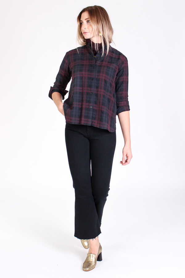 Steven Alan Band collar shirt in black/burgundy