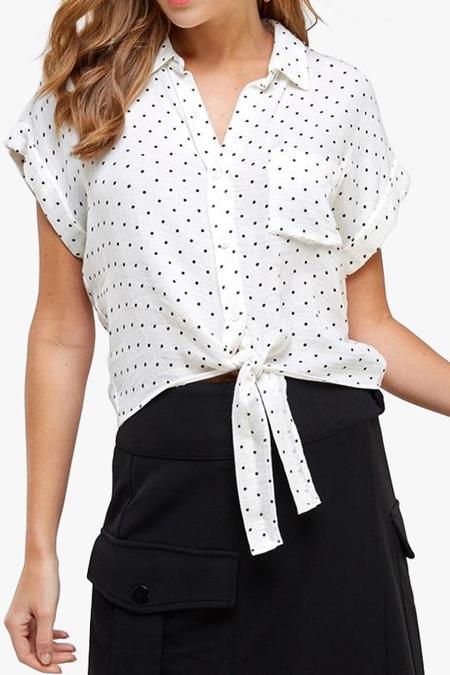 Azalea Abra Polka Dot Tie Front Top - white