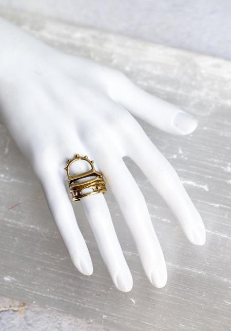 Water Sand Stone Sunrise Ring - Brass