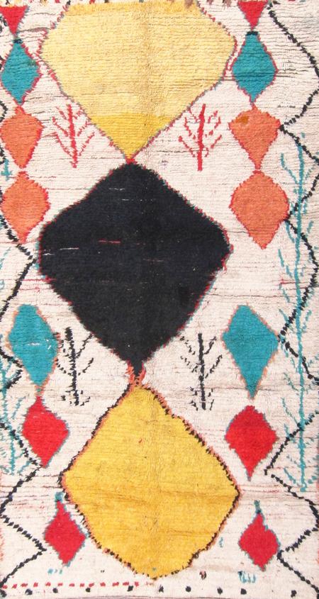 vintage Moroccan Vivid Diamond Azilal Rug