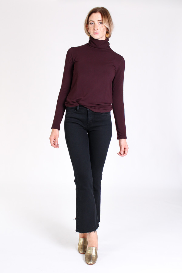 Majestic French terry turtleneck in aubergine