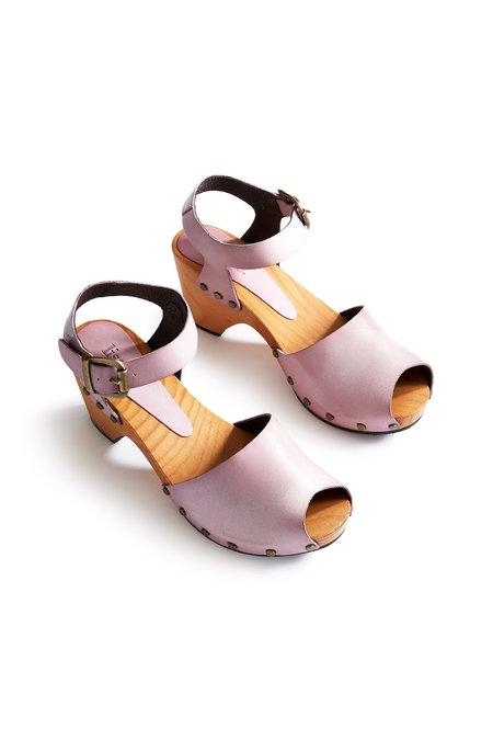 Lisa B. leather peep toe clogs - viola