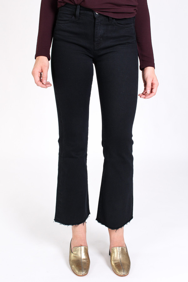 M.i.h Jeans Lou cropped bell jean in black