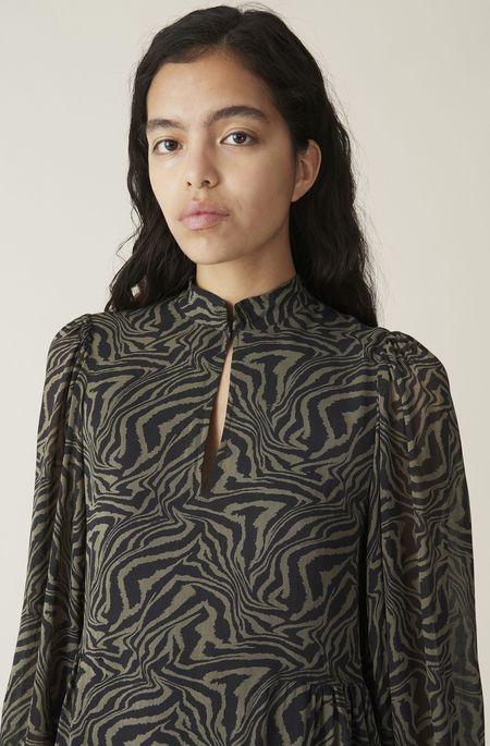 Ganni Printed Georgette Dress - Kalamata