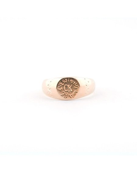 I Like It Here Club Everything Will Be OK Signet Ring - brass