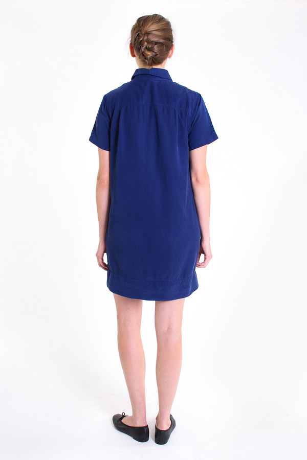 Clu Shirt dress with pintuck detail in royal blue