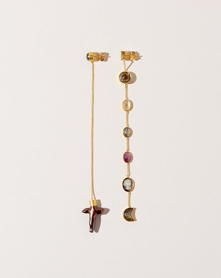 Grainne Morton Extra Long Mismatched Chain Drop Earrings - 18K gold plated silver
