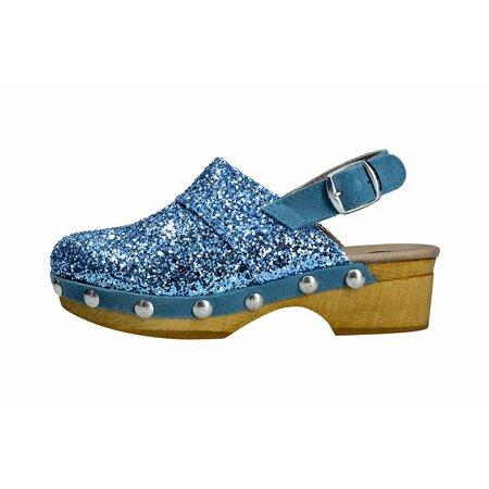kids lmdi collection banus clog - blue glitter
