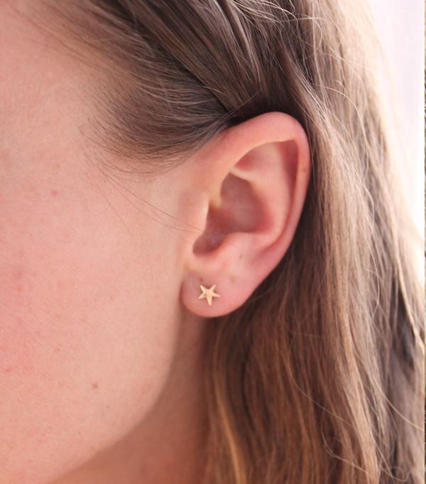 Catbird Tiny Dancer Star Earring, 14K Yellow Gold