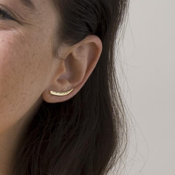 Knobbly Studio Tusk Ear Climbers, Gold