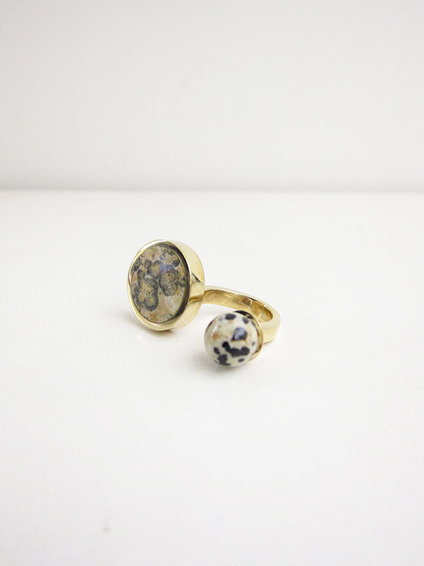 Quarry Jaspe Double Ring, Ocean/Dalmation