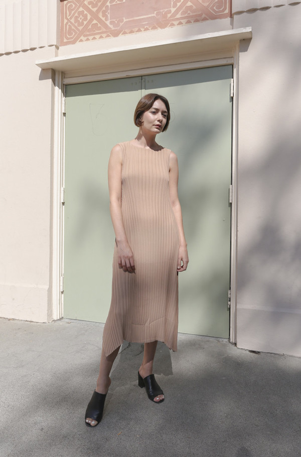 Objects Without Meaning Knife Pleat Dress in Nude