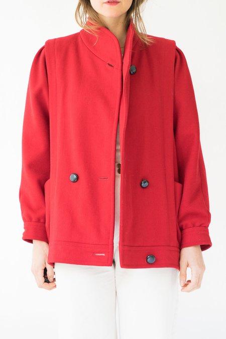 Vintage Wool Coat - Red